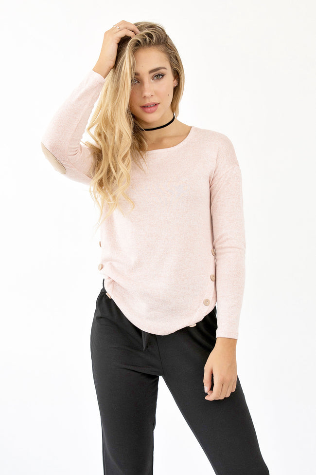 CUTE AS A BUTTON SWEATER - PINK