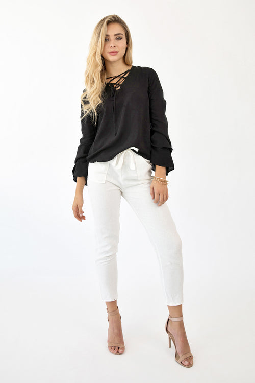 LAUREN LACE UP TOP - BLACK