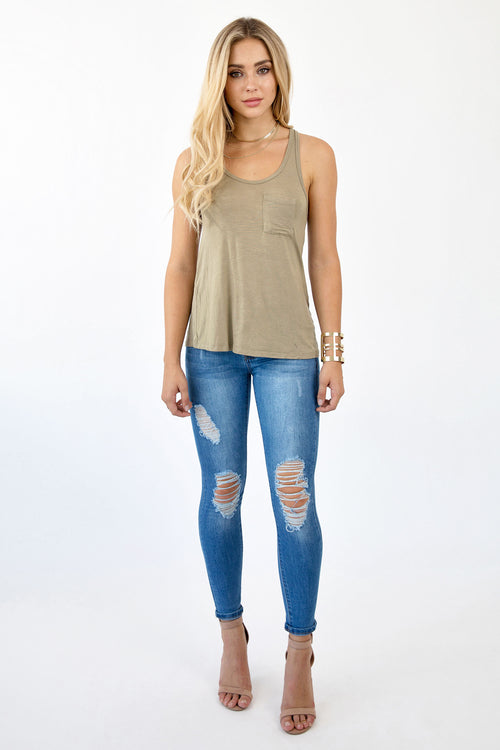CLAIM TO FAME TANK TOP - OLIVE