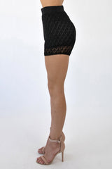 SCALES KNITTED SHORTS - BLACK