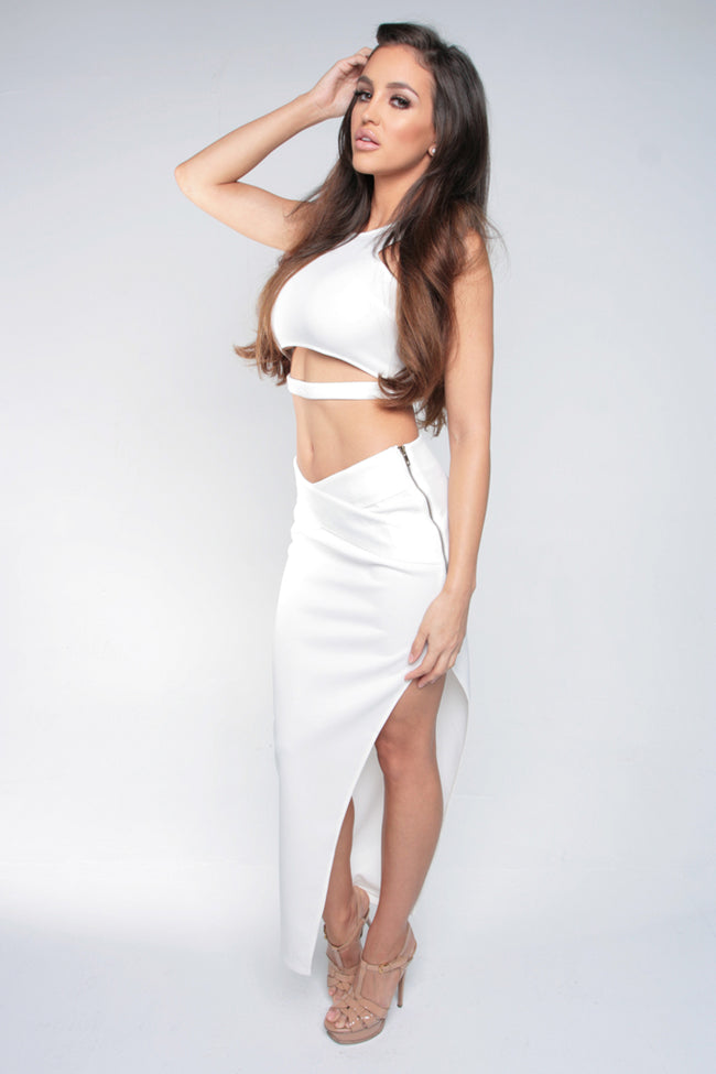 WRAPPED IN LOVE CROP TOP - WHITE