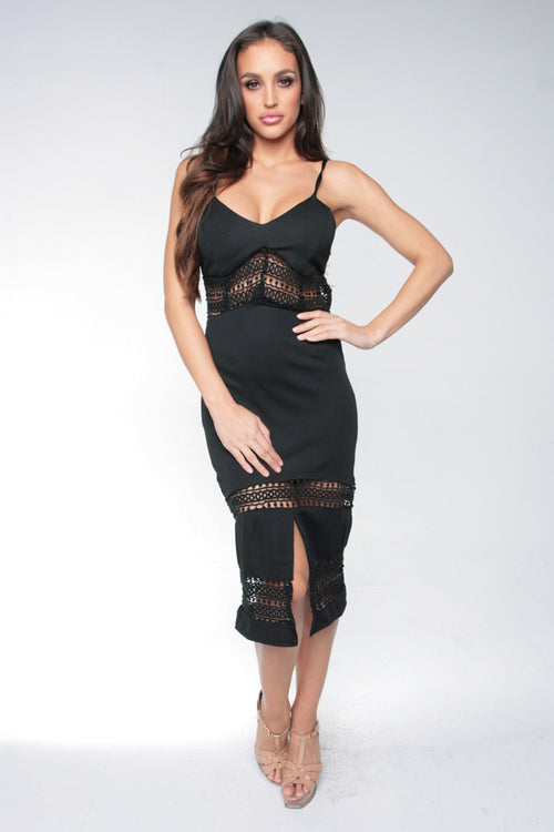CURVE APPEAL MIDI DRESS - BLACK