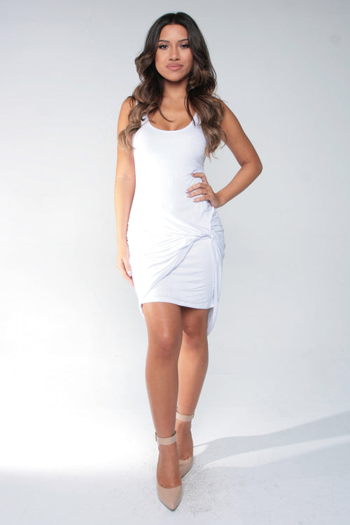 KNOT FROM JERSEY DRESS - WHITE