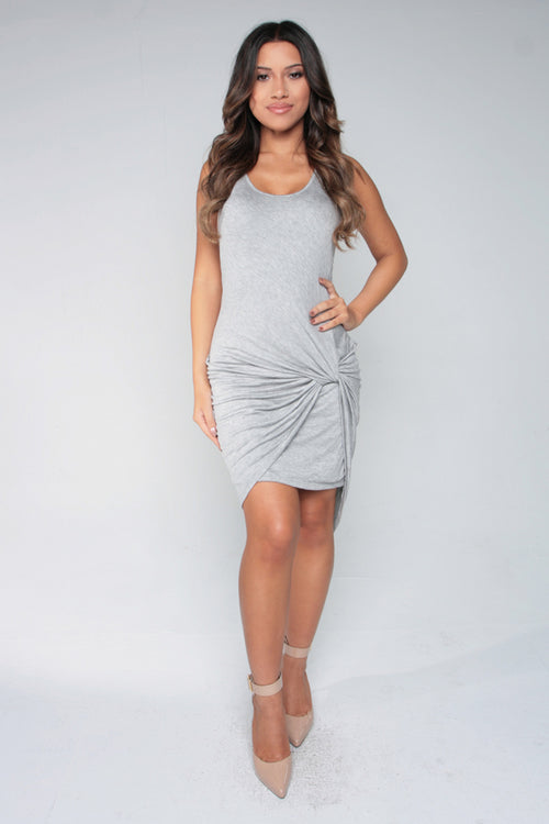 KNOT FROM JERSEY DRESS - GRAY