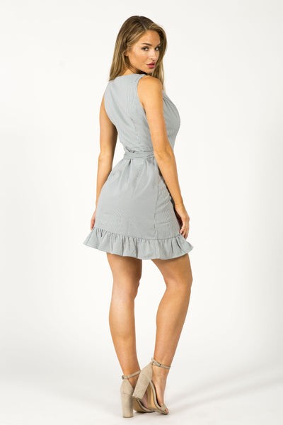 I LIKE IT RUFFLED MINI DRESS- BLACK