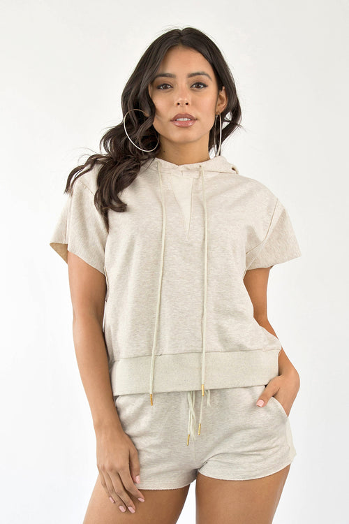 DON'T SWEAT IT HOODIE SET - OATMEAL