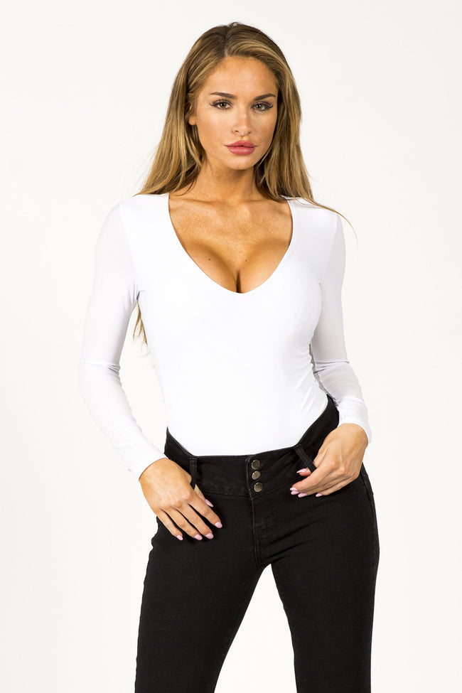 WHITE HOT V NECK BODYSUIT