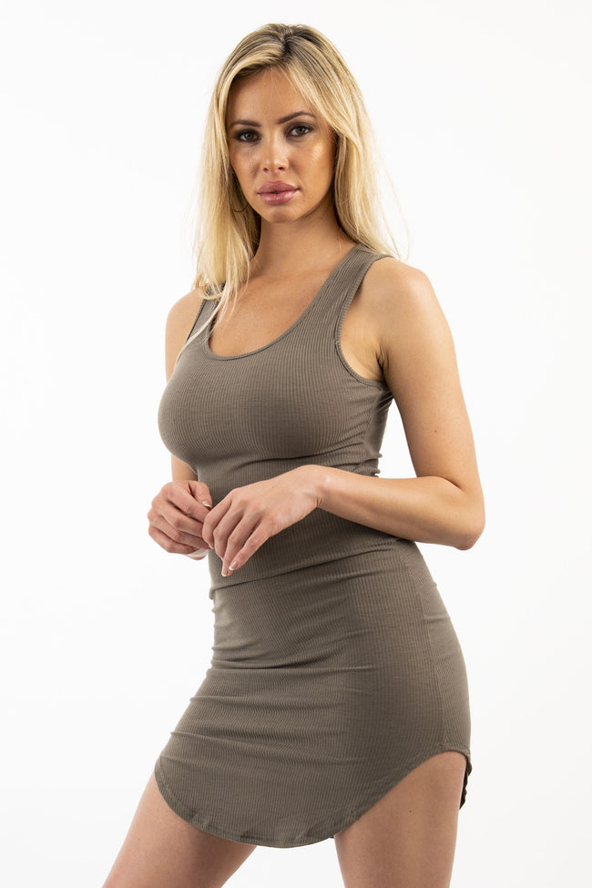 KIRA TANK DRESS - BROWN