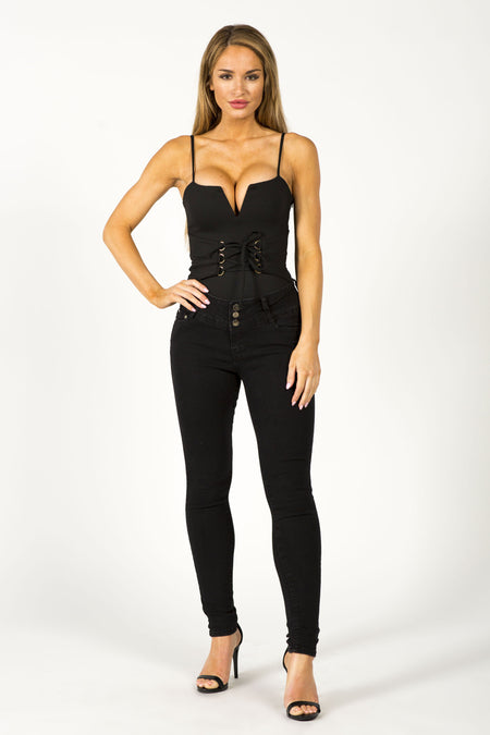 EYE SEE YOU BODYSUIT - BLACK
