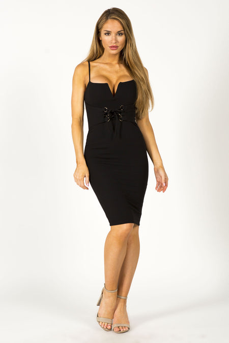 ALL CHOKED UP MINI DRESS - BLACK