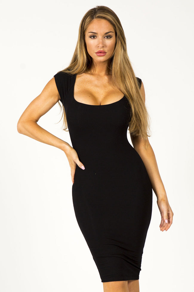 TROPHY WIFE MIDI DRESS - BLACK