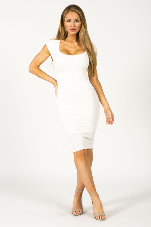 TROPHY WIFE MIDI DRESS - WHITE
