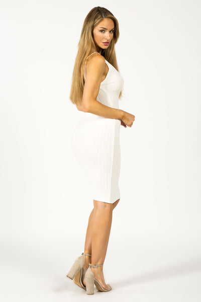 CURVES AHEAD MIDI DRESS - WHITE