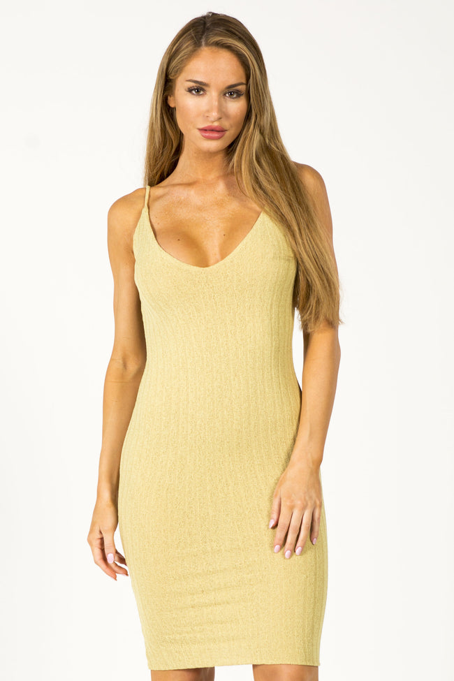 CURVES AHEAD MIDI DRESS - MUSTARD