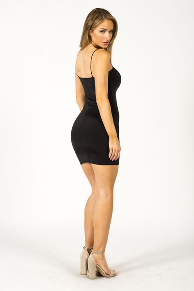 COLD SHOULDER MINI DRESS - BLACK