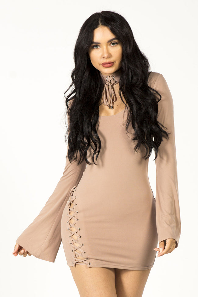ALL CHOKED UP MINI DRESS - MAUVE