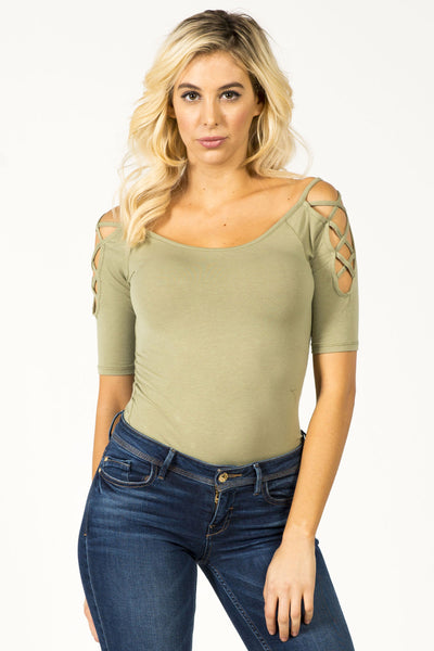 DON'T CROSS ME TOP - OLIVE