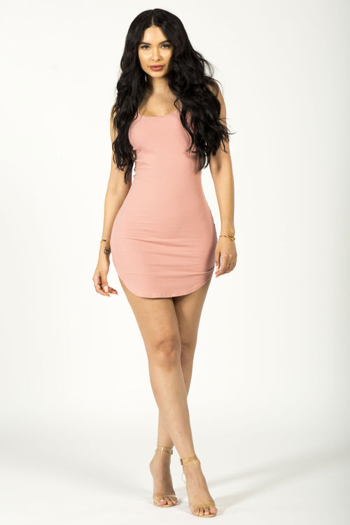 GIVE 'EM SIDE EYE MINI DRESS - BLUSH