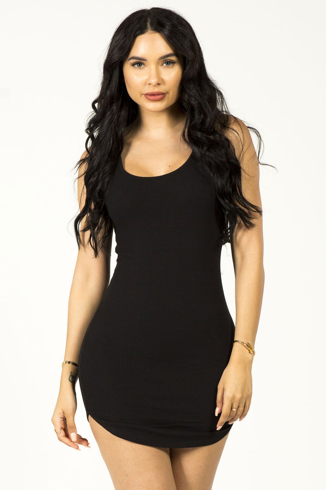 GIVE 'EM SIDE EYE MINI DRESS - BLACK