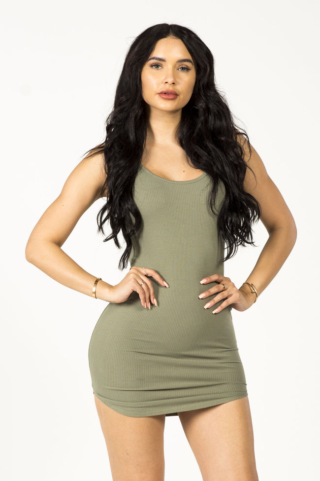 GIVE 'EM SIDE EYE MINI DRESS - OLIVE
