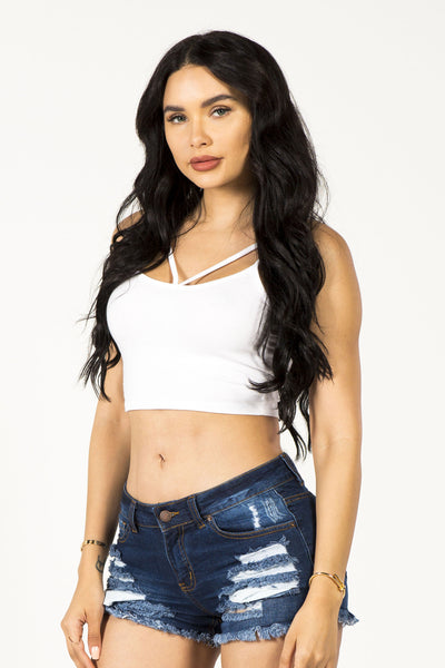 STRING YOU ALONG CROP TOP - WHITE