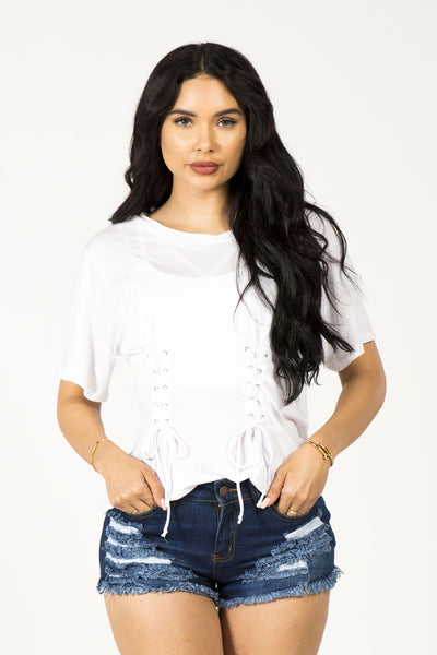 CORSET YOU UP TOP - WHITE