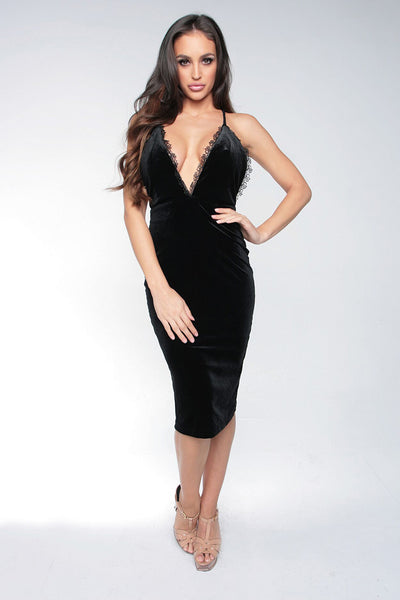 PLUNGE OF LOVE MIDI DRESS - BLACK