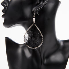 HANGING BY A THREAD EARRINGS - BLACK