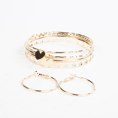 SHAPE OF MY HEART EARRING AND BANGLE SET