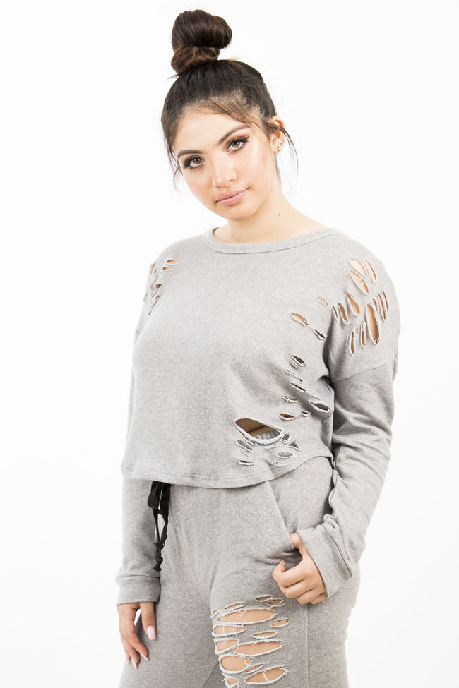 EMMA PULL OVER SWEATER - GRAY