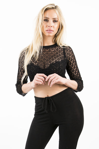 SCALES CROP TOP - BLACK