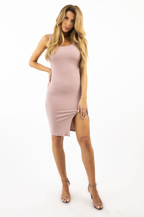 SLIT YOU UP DRESS - MAUVE