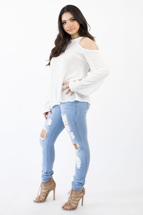 BIANCA LONG SLEEVE TOP - WHITE