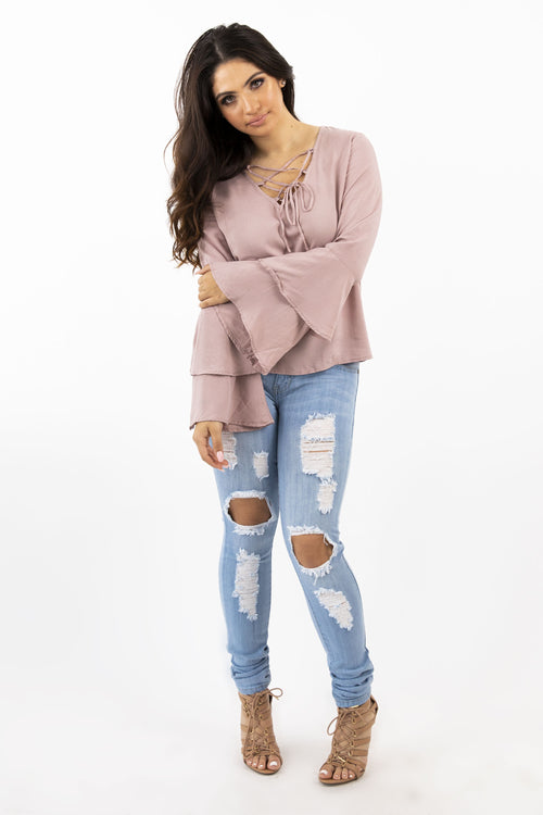LAUREN LACE UP TOP - MAUVE