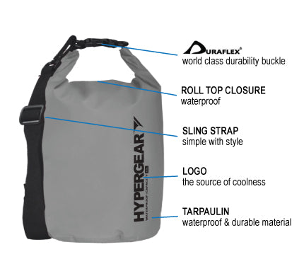 HYPERGEAR Adventure Dry Bag 15L, hiking, camping, outdoor, adventure, activity, bag, beg
