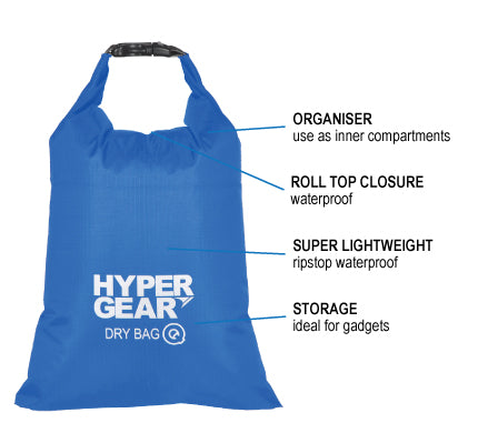 HYPERGEAR Dry Bag Q 2L, hiking, camping, outdoor, adventure, activity, portable, lightweight, 2L