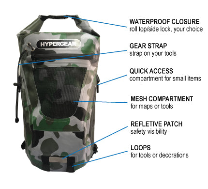 HYPERGEAR 20L Dry Pac Tough Backpack, hiking, camping, outdoor activities, adventure, fun, accessible