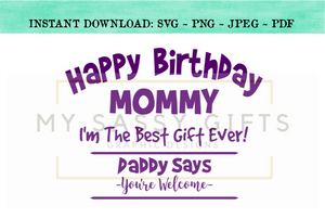 Happy Birthday Mommy Or Mom Im The Best Gift Ever Cut File SVG Clip