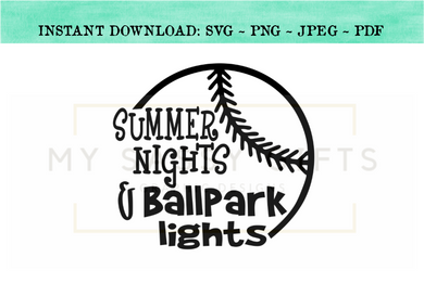 20720f1001cc Summer Nights and Ballpark Lights Baseball SVG For Cricut and Silhouette