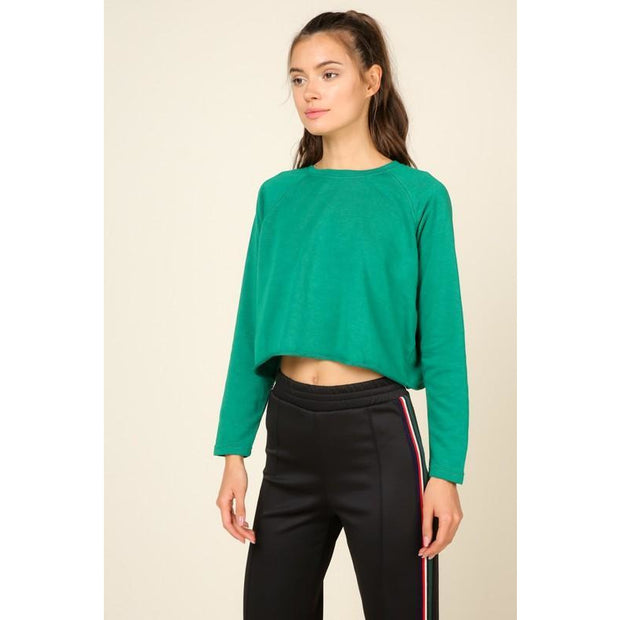 Kelly Green Crop Sweater - Love Her Luxe Boutique