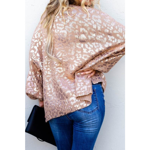 Gold Foil Leopard Print Sweater - Love Her Luxe Boutique