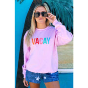 VACAY Oversized Pink Crewneck Sweatshirt - Love Her Luxe Boutique