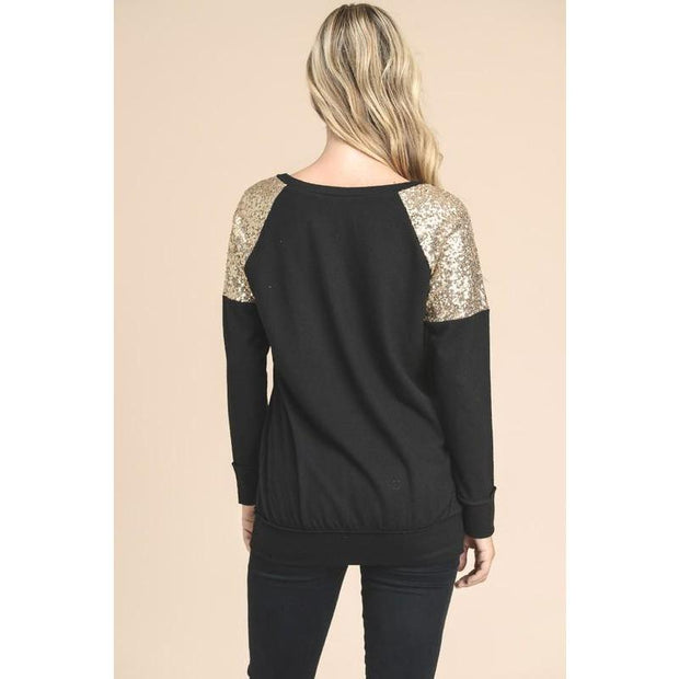 Gold Sequin Detail Knit Top - Love Her Luxe Boutique