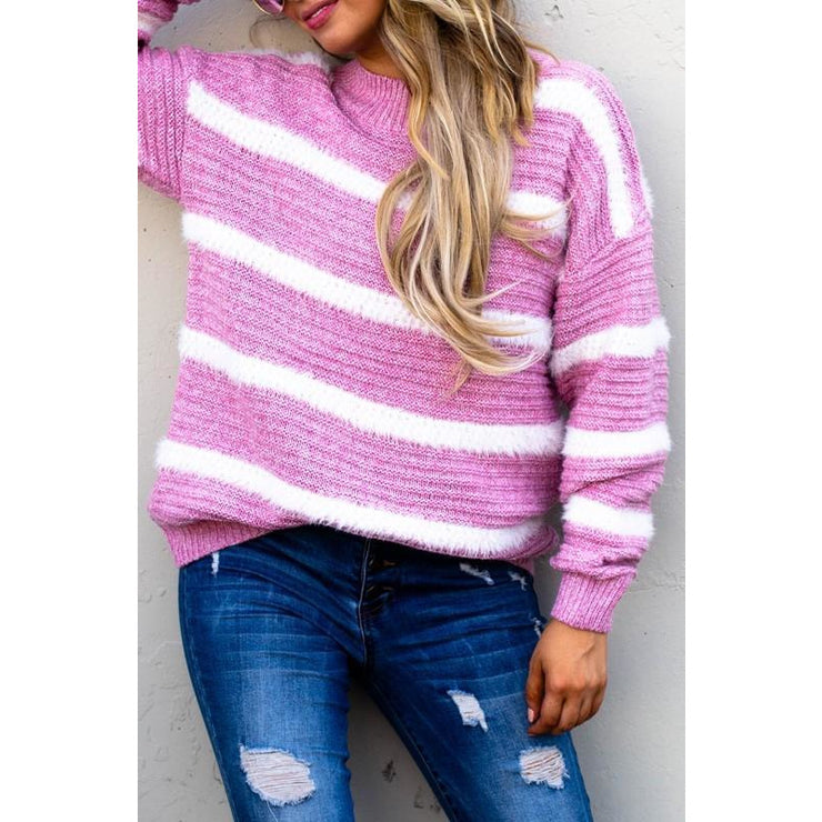 Hopless Romantic Mauve Pink Stripe Pullover Sweater - Love Her Luxe Boutique