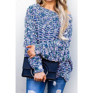 Grayson Blue Multi Popcorn Knit Sweater