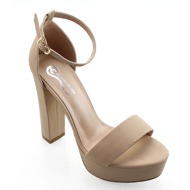 Bansy Nude Faux Leather Ankle Strap Platform Heels - Love Her Luxe Boutique