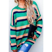 Frame Of Mind Green Multi Stripe Pullover Seater - Love Her Luxe Boutique
