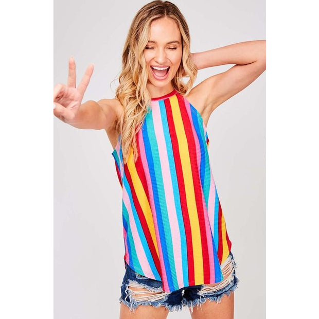 Bright Nights Stripe Tank Top - Love Her Luxe Boutique
