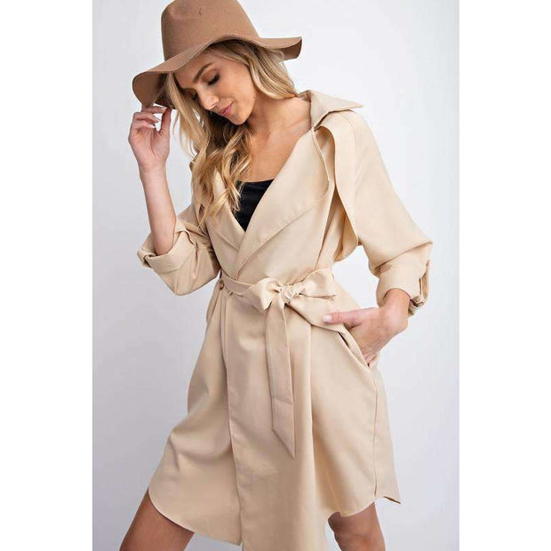 Karly Khaki Layering Waist Tie Trench Coat - Love Her Luxe Boutique