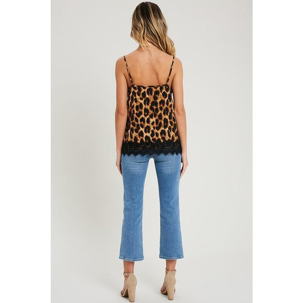 Lace Detail Leopard Print Cami - Love Her Luxe Boutique